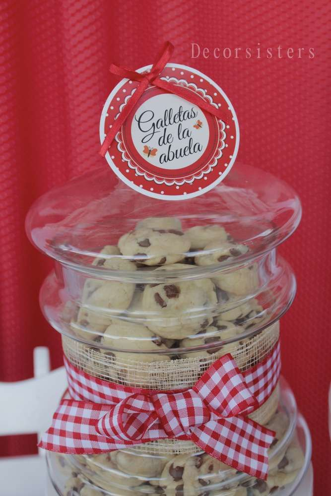Cookies for Grandma at a Little Red Riding Hood Vintage travel baby shower party! See more party planning ideas at CatchMyParty.com!