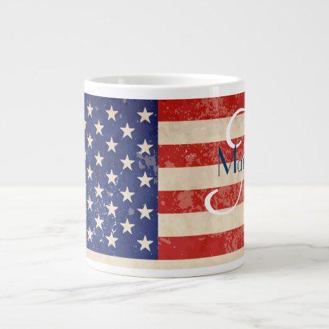 Vintage American Flag Giant Coffee Mug