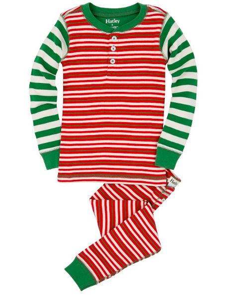 Boys Red Holiday Stripes Two-Piece Pajamas - Red/Green