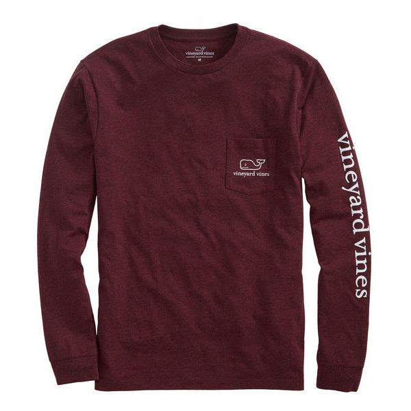 Shop Long-Sleeve Vintage Whale Heater Pocket T-Shirt at vineyard vines ($48) ❤ liked on Polyvore featuring tops, t-shirts, tops/outerwear, cotton pocket t shirts, purple t shirt, long sleeve tops, cotton tee and long sleeve cotton t shirts