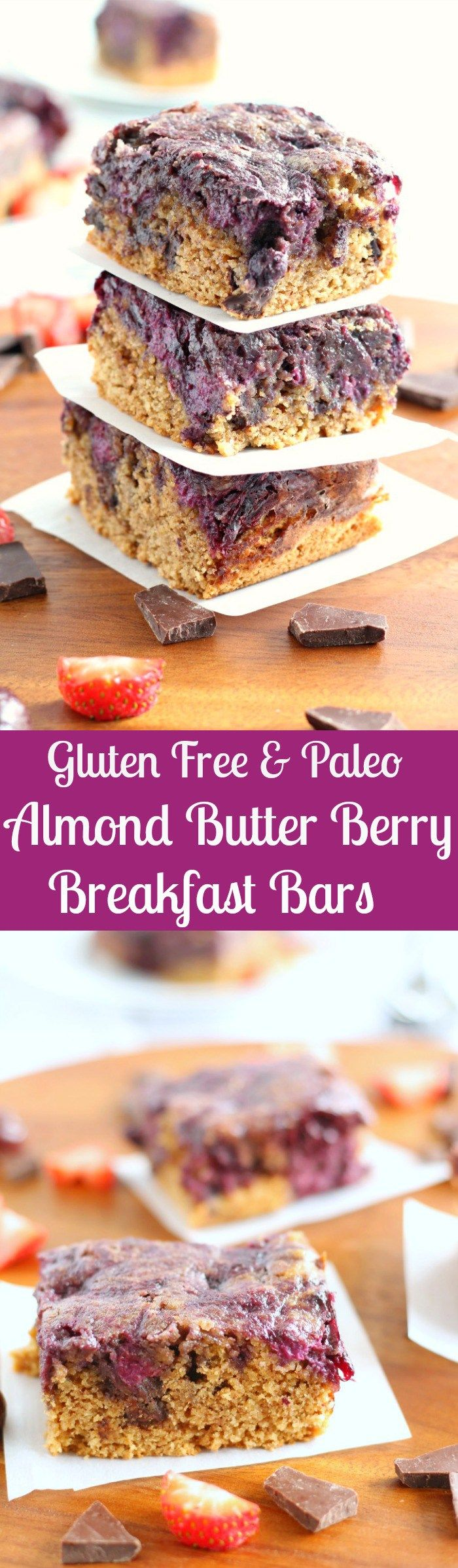 Gluten Free and Paleo Almond Butter Berry Breakfast Bars - paleorunningmomma.com