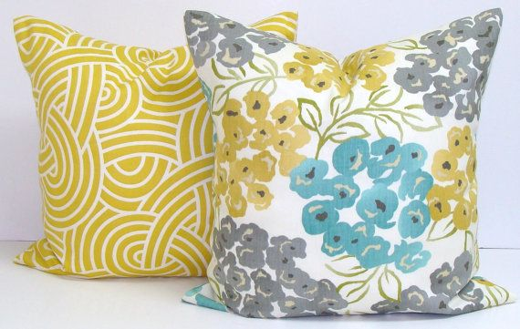 SALE TEAL.GRAY.Yellow.Pillow.16x16 by ElemenOPillows on Etsy