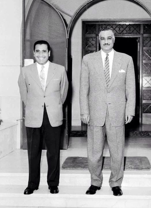 Former president of Egypt Gamal Abd El Naser and veteran journalist Muhamed Hansen Hikal . #egypt #history
