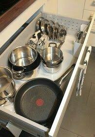 Keittiö järjestykseen. Kattilan kansille on haitariteline, jolloin ne pysyvät pystyasennossa.Kotiporstua blogi