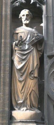 Statue of St. Peter on the south door of St Mary's Church in Aylesbury, United Kingdom