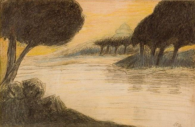 Landscape art by Rabindranath Tagore (crayon on paper).