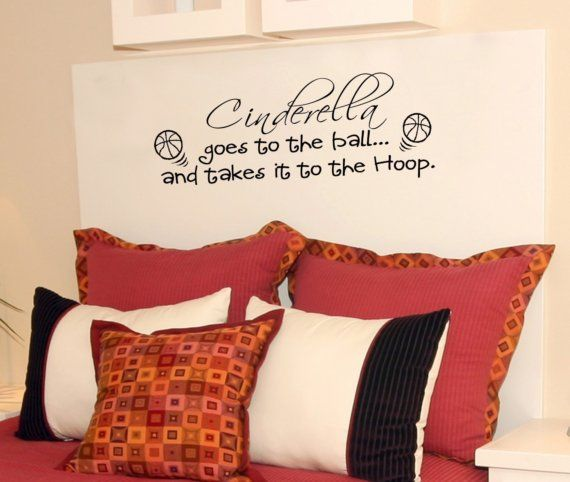 30x10 Cinderella Basketball Goes tot the ball Takes it to the Hoop Vinyl Wall Lettering Words Quotes Decals Art Custom Willow Creek Signs on Etsy, $18.95