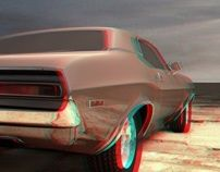 Anaglyph car red-cyan