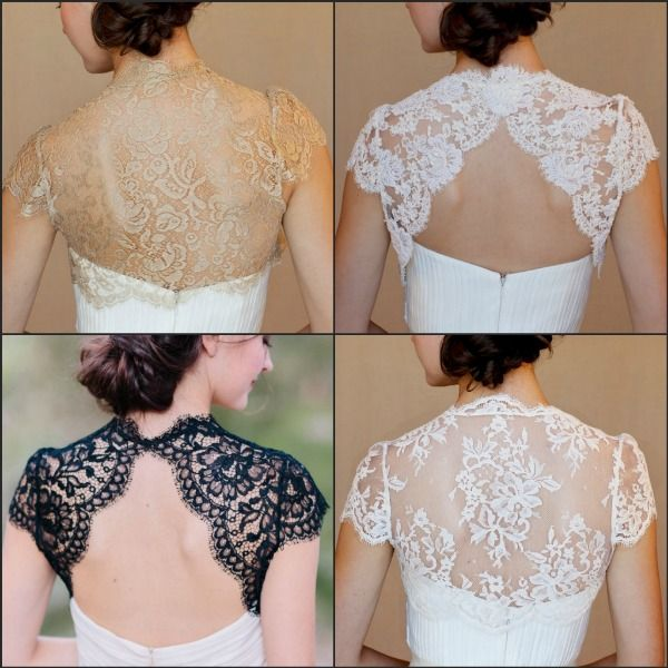 Elle & Jae lace boleros. Pretty, feminine, boho chic with vintage flair.  Completely change the look of gown.  https://perfectdetails.com/wedding-wraps.htm