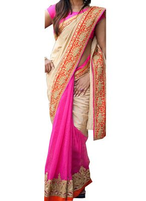New Cream & Magenta Joya Silk With D.Georgette Saree Sarees on Shimply.com