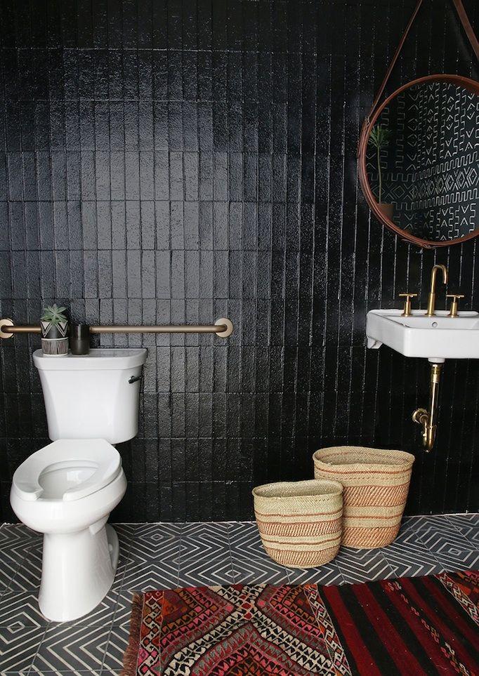 Beautiful Bold Black Bathrooms Paint Guide Black Bathroom Black Tile Bathrooms Boho Bathroom