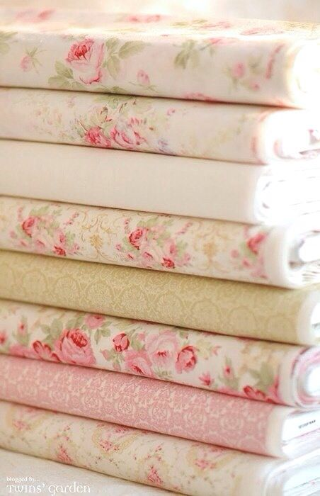 Shabby chic, pastel fabric from Twins' Garden Shop, for curtains