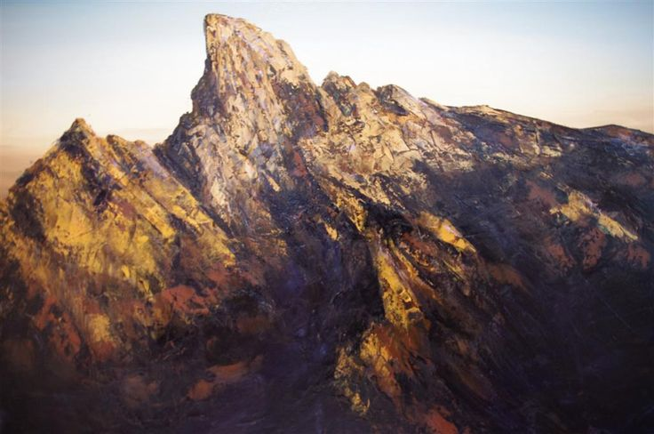 A Mountain Range: Geoff Winckle has long been fascinated by the sublime power and beauty of mountains. This work is an attempt to show the nature of the mountains by way of texture and the capturing of it's ruggedness in light and shadow.