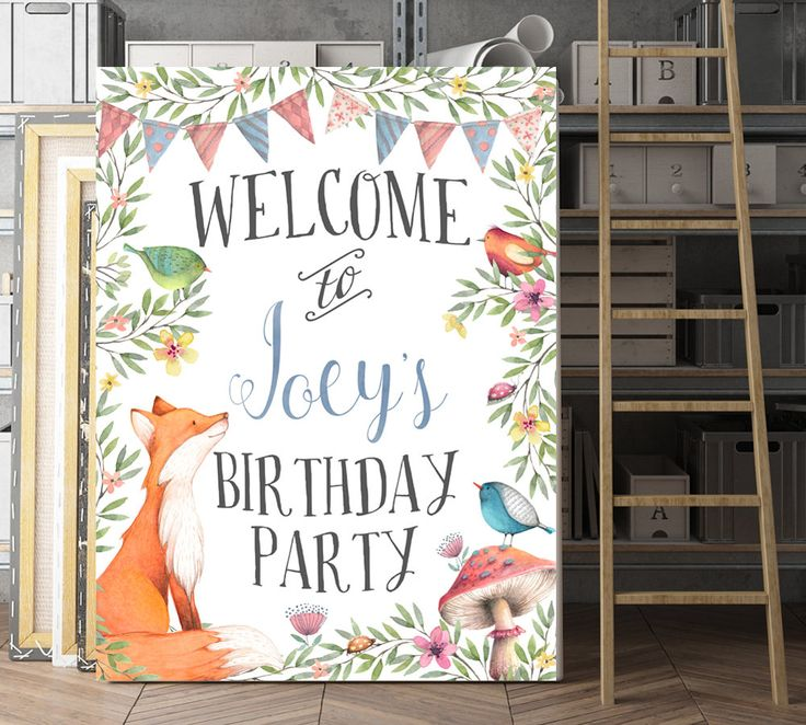 Woodland Birthday Sign, Birthday Welcome Sign, Forest Birthday, Woodland theme, Fox Birthday Decorations, Woodland Animal Theme, Printable by AdornMyWall on Etsy
