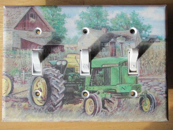 Red Tractor Plate Outlit : John deere tractor triple light switch plate cover
