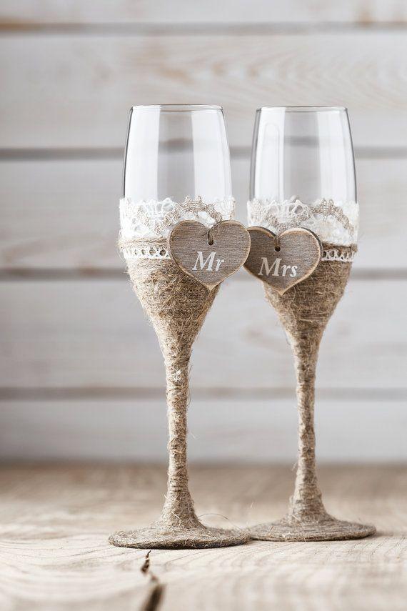Wedding Toasting Glasses Rustic Toasting by InesesWeddingGallery