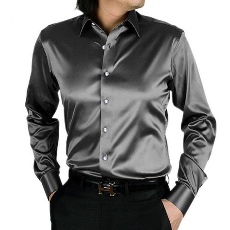 Купить товар2016 camisa masculina мужские рубашки шелка блестящие случайные мужские рубашки Стильные модные Футболки тонкий мужчины с длинным рукавом рубашки SMC033 в категории Рубашки для смокинговна AliExpress.   2016 camisa masculina мужские рубашки шелка б�