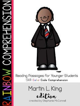 "This MLK packet is designed for young students...First-Third Grade to introduce how to find answers using Text Evidence. The questions are ""right there"" type questions. This means the students will not have to infer to determine the answer.After reading the passage, students will be guided to locate the answer using color pencils, crayons or highlighters."