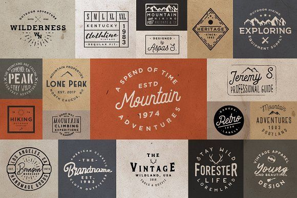 [vol. 2] 20 Minimal Retro Badges by Roman Paslavskiy on @creativemarket