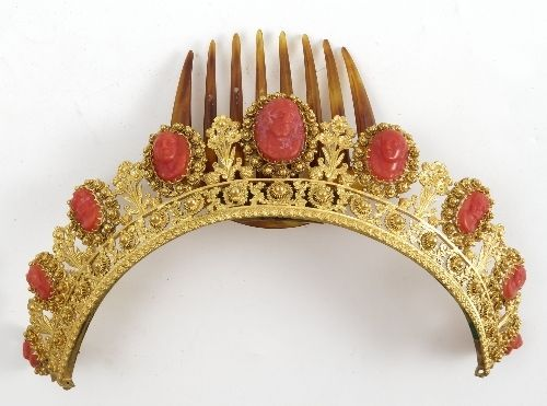 Antique French Gilt Ormolu Carved Red Coral Cameo Jeweled Tiara Crown Diadem | eBay