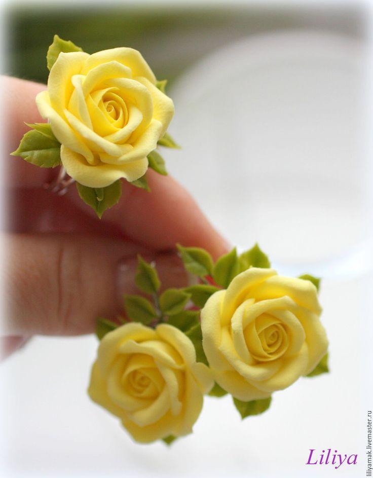 """Купить Комплект """"Лимонные розы"""" серьги+ кольцо - лимонный, желтые цветы, желтые розы"""