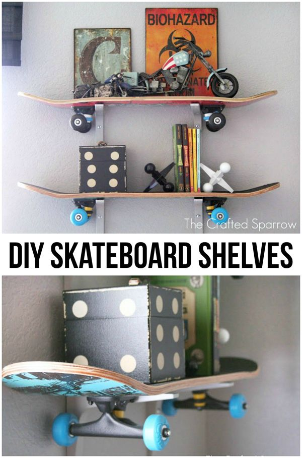 Oh this is so cool... And I know I have one these in the back if my garage somewhere! | DIY Skateboard Shelves from thecraftedsparrow.com