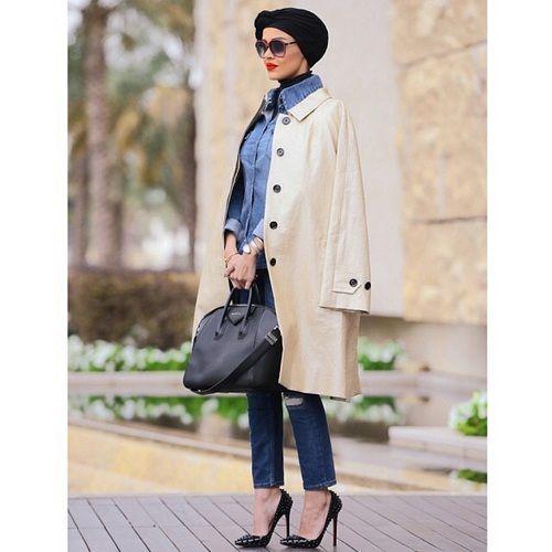 trench jacket turban hijab look- Fashionista hijab trends http://www.justtrendygirls.com/fashionista-hijab-trends/