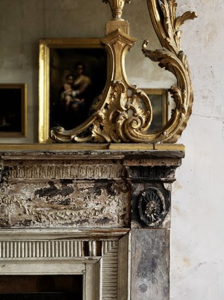 Gilt overmantle mirror: Mirror, Fireplaces Mantles, Apartment Interiors Design, Vintage Fireplaces, Chic Interiors, Paris Apartment Interiors, Distressed Fireplaces, Grey And Gold, Antiques
