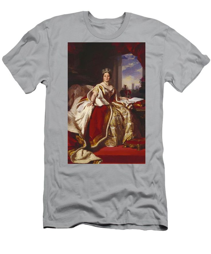 Queen Men's T-Shirt (Athletic Fit) featuring the painting Queen Victoria 1859 by Winterhalter Franz Xaver