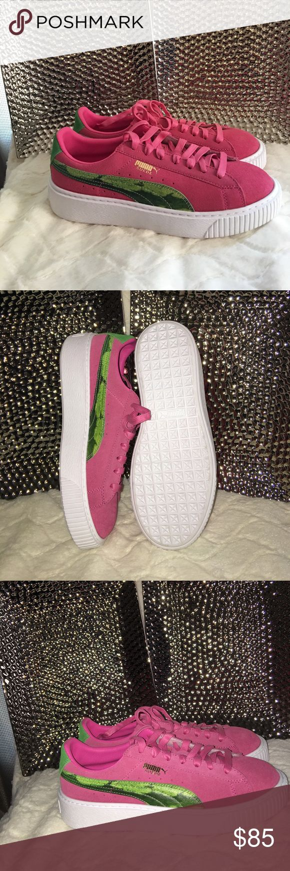 Puma tennis shoes Pink suede and lime green velvet Puma Shoes Sneakers
