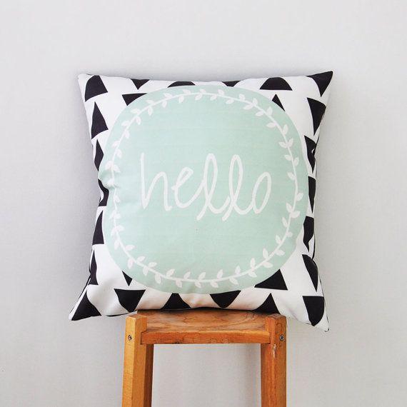 """Geometric Pillow, Mint Teen Pillow, Decorative Pillow, Modern Kids Pillows, Nursery Pillow, Throw Pillow 16"""" x 16"""""""