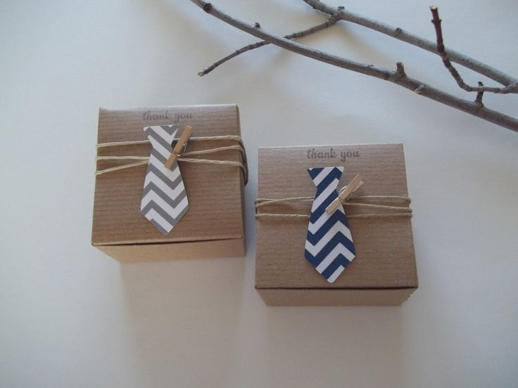 Little Man Baby Shower favor boxes Neck tie favor box 3x3x2 inch $24.60 via Etsy. Can get boxes here instead and make myself: http://www.papermart.com/natural-kraft-gift-boxes/id=5479#5479