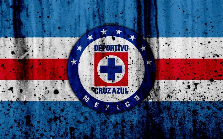 Download wallpapers 4k, FC Cruz Azul, grunge, Liga MX, soccer, art, Primera Division, football club, Mexico, Cruz Azul, stone texture, Cruz Azul FC