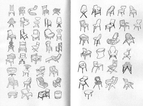 Chair sketch in Design as Art by Bruno Munari