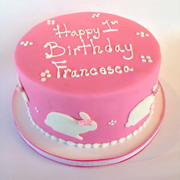 pink birthday cake, little girl birthday cake, bunny rabbit cake, More