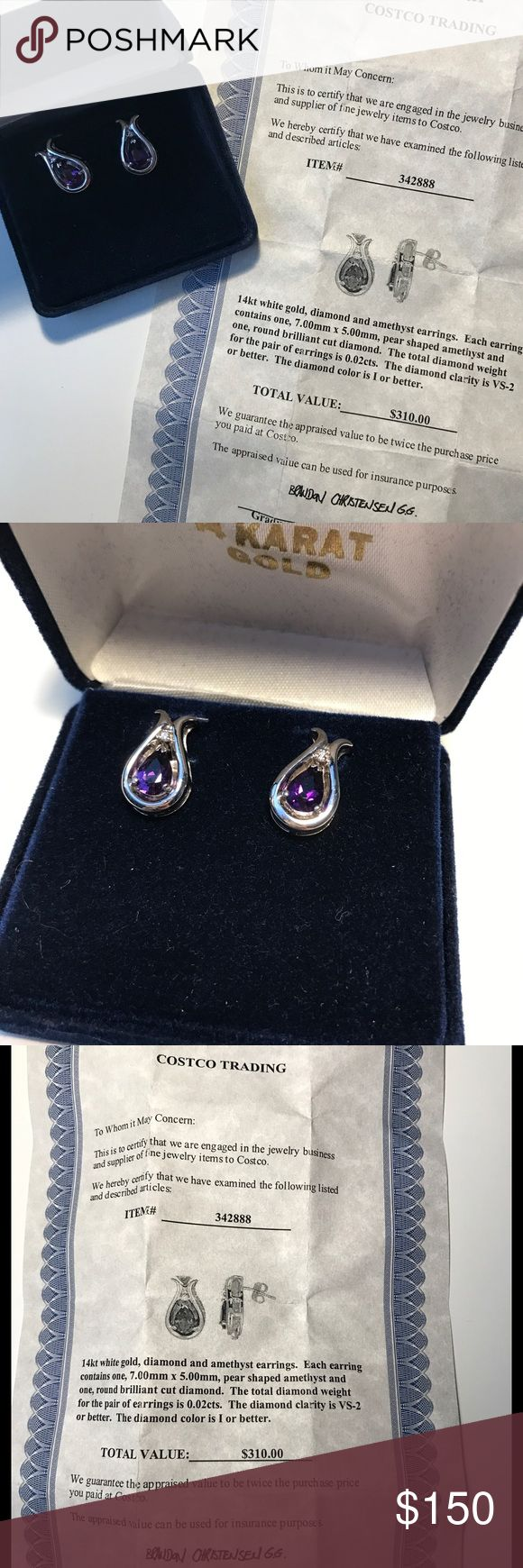 14kt White Gold, Amethyst & Diamond Earrings NEVER WORN! Purchased at Costco complete with appraisal that guarantees value to DOUBLE! Beautiful! Jewelry Earrings