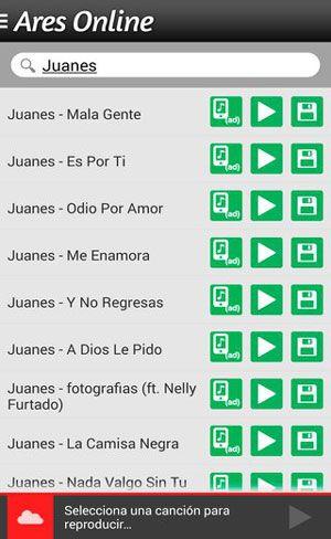 Ares: para Android descargar y escuchar música