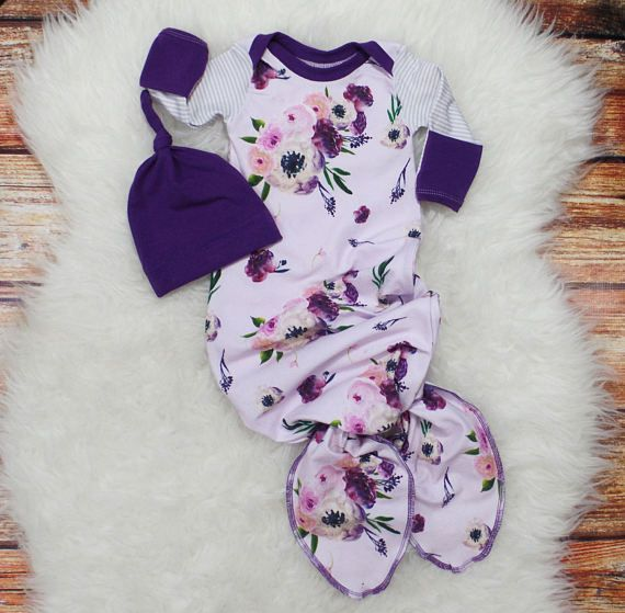 Plum floral baby girl gown Newborn girl coming home outfit