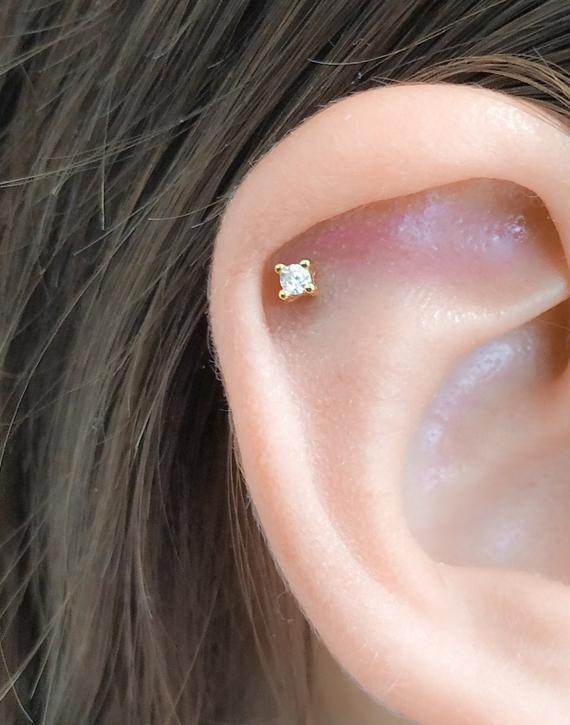 14K 2.5mm Solid Gold CZ Stud Minimalist Earring Cartilage Helix Tragus Piercing Earring Geometric Earring Simple Stud Conch Lobe