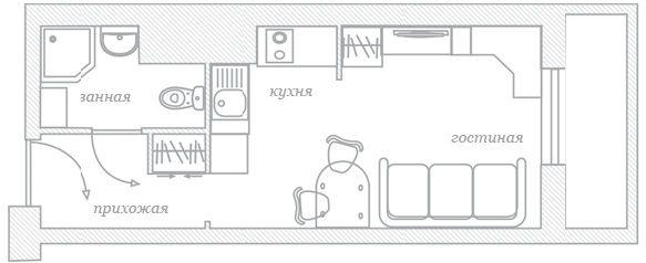 Данная однокомнатная квартира имеет площадь 37,36 квадратных метров. Да, она весьма компактная, но при разработке дизайна было все продумано и сделано практично и функционально, с максимально рациональным использованием имеющейся площади.
