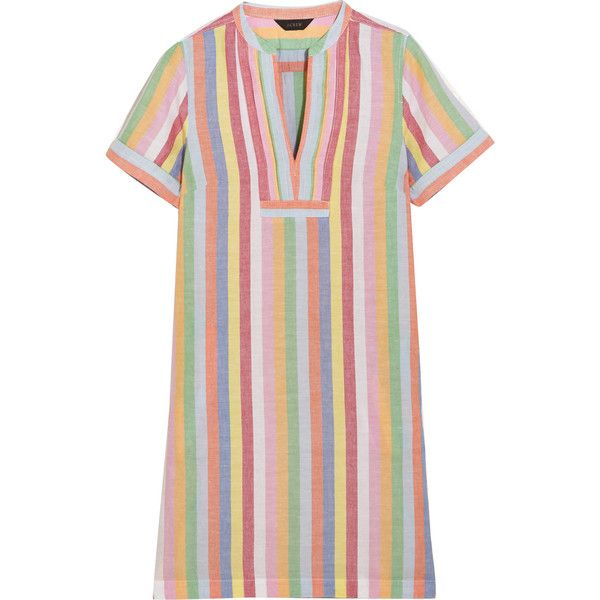 J.Crew Quinlan striped cotton, ramie and linen-blend mini dress found on Polyvore featuring dresses, blue, stripe dress, blue dress, print dress, striped dresses and short dresses