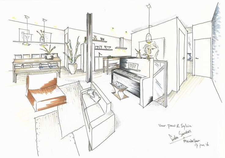 Interieurontwerp voor fijn huis in de Baarsjes Amsterdam. Warm scandinavisch - open & ruimtelijk - rust & eenheid - gezellig tafelen - afrikaans tintje - oude bouwmaterialen - robuust hout - luchtig & levendig - tv niet als middelpunt | Meubelbar