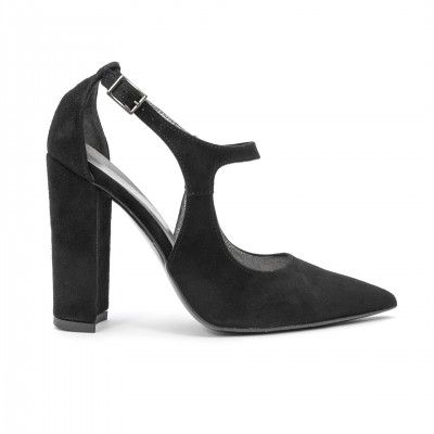 YASMINA  black suede sandals highheel