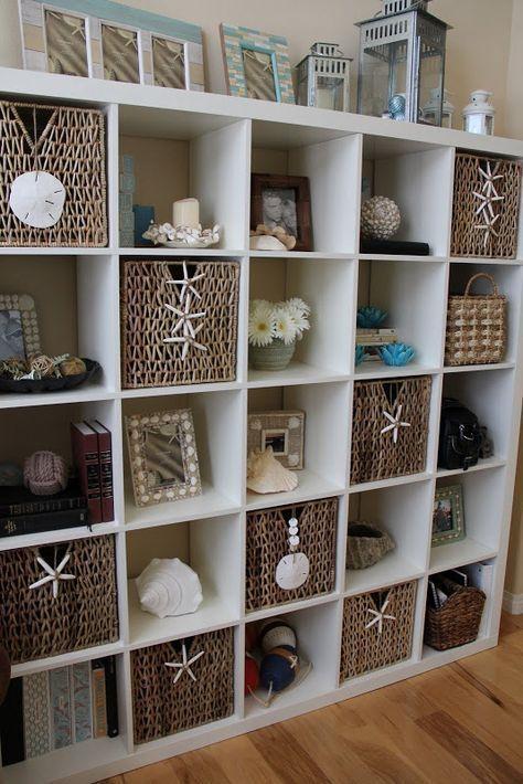 Decorating With Shells Storage bookcase bookshelf shelf shelving baskets starfish coastal beach house ocean sea decor accessories style accessorize #beachhousedecorcoastalstyle #coastalstyledecorating