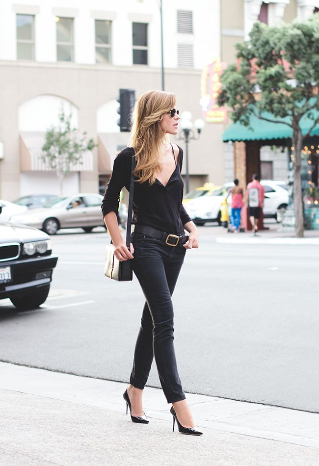 black outfit with gold accents