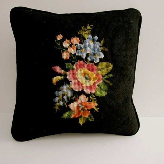 Black Wool Needlepoint Pillow 12 square by TheSterlingStar, $14.00