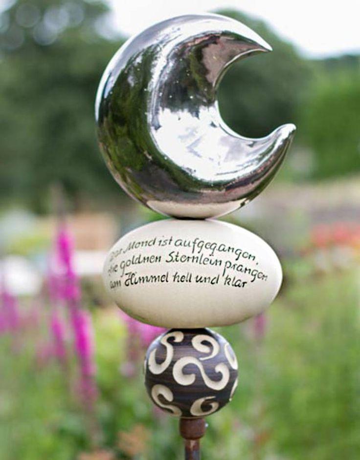 """Stele der Mond ist aufgegangen """"Mond platin"""" - Gärten für Auge & Seele"""