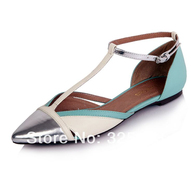 2014 New sheepskin   Clearance sandals flat heel women shoes fashion flat sandals color block decoration t hasp pointed toe US $39.99