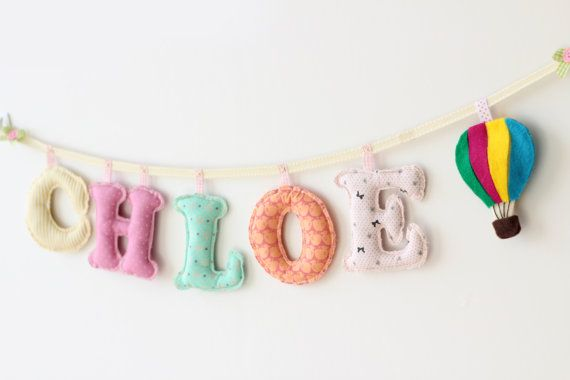 Deco Kid's Room // Name Banner Custom made 5 letters di MerrybellDecor