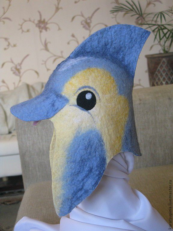 """Купить Шапка для сауны """"Дельфин"""" - голубой, шапка для сауны, шапка для бани, шапка для мальчика"""